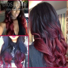 1b 99j ombre lace wig virgin Brazilian hair curly glueless lace front wigs two tone red lace wigs for black women