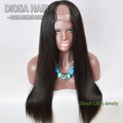 Stock 150 Density Silky Straight U Part Human Hair Wig Peruvian Virgin Human Hair Upart Wigs Straight Middle Part/Side Part
