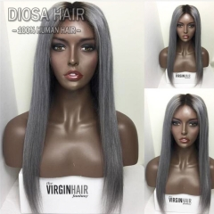 Ombre Grey Human Hair Wigs Glueless Full Lace Human Hair Wigs With Dark Roots Ombre Grey Lace Front Human Hair Wigs Straight