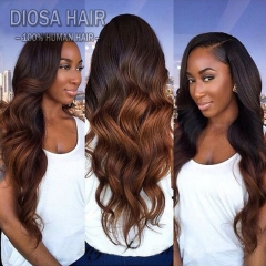 Ombre Full Lace Human Hair Wigs For Black Women Glueless Ombre Lace Front Human Hair Wigs With Baby Hair Pre plucked hairline