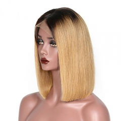Short Ombre Lace Front Wigs Human Hair, Ombre Blonde Short Wigs For Black Women