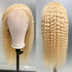 13x6 Curly Human Hair Wig Brazilian Deep Wave 613 Blonde Lace Front Human Hair Wigs For Black Women Transparent Lace Wig