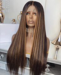 Balayage Color Human Hair Wig 13X6 Lace Front Human Hair Wigs Straight Brazilian Remy Hair