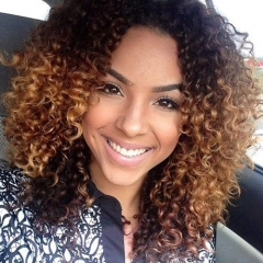 Ombre Curly Full Lace Human Hair Wigs Pre Plucked With Baby Hair Glueless Full Lace Wigs For Women Brazilian Remy Hair