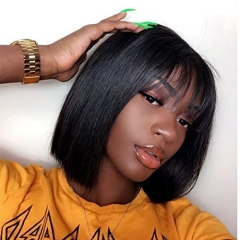 Diosa Lace Front Wig 150% Density Air Bangs Natural Color Short Bob Wigs Brazilian 100% Human Hair For Women
